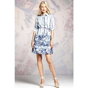 Peter Som Navy & White Watercolor Patterned Dress